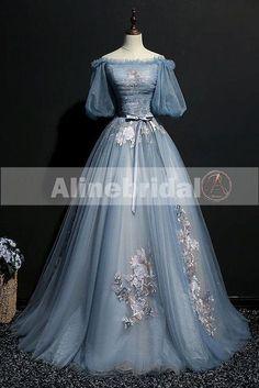 Vintage Princess Off Shoulder Half Sleeve Sky Blue Appliques Ball Gown –  AlineBridal Senior Prom Dresses 3c265405629a