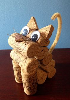 cat figurine made from recycled corks by CorkCreationsbyK on Etsy