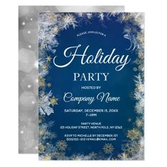 Shop Blue Silver Snowflake Corporate Holiday Party Invitation created by MaggieMart. Personalize it with photos & text or purchase as is! Us Holidays, Christmas Party Invitations, Party Venues, Create Your Own Invitations, White Elephant Gifts, Zazzle Invitations, Holiday Parties, Holiday Decor, Blue And Silver