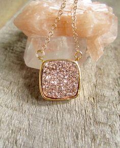 Rose Gold Druzy Necklace, Drusy Necklace, Druzy Quartz Jewelry, Gemstone Necklace, Layered Necklace, Raw Stone Necklace
