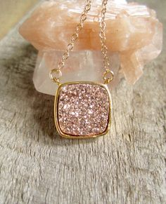 Rose Gold Druzy Necklace, Drusy Necklace, Druzy Quartz Jewelry, Gemstone Necklace, Layered Necklace, Raw Stone Necklace