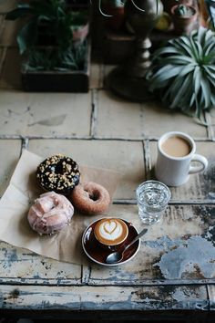 For A Happy Chic Morning After Some Sweet Dreams, Enjoy Some Sweet Treats  With A Latte And A Refreshing Glass Of Water For The Sweetest Start To A  Morning.