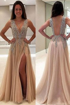 Trendy prom dresses - V neck long prom champagne dress – Trendy prom dresses Champagne Formal Dresses, Champagne Evening Dress, Dress Formal, Cocktail Dresses, Grad Dresses Long, V Neck Prom Dresses, Dress Prom, Goddess Prom Dress, Pink Dresses