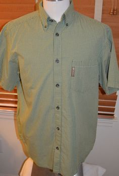 Columbia Men's Green/White/Yellow Checked Short Sleeve Shirt (M) #Columbia #ButtonFront
