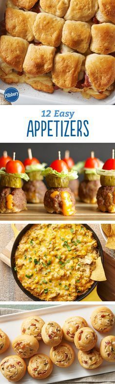 10 Unstoppable Summer Appetizers Whether you& hosting a party or just looking for a pre-dinner snack, these 12 easy appetizers are crazy-delicious. From biscuit slider bakes to warm dips, you& going to want to try all of these apps. Finger Food Appetizers, Yummy Appetizers, Appetizers For Party, Finger Foods, Appetizer Recipes, Snack Recipes, Cooking Recipes, Tapas, Hallowen Food
