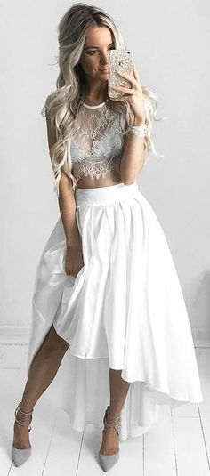 #summer #lovely #style   Grey Lace Top + White Maxi Skirt