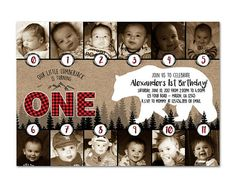 Get the timeline photo lumberjack 1st birthday invitation you've been looking for, for your little boys lumberjack first birthday party, featuring monthly photos from the first year in a wild kraft and red plaid design, the party information inside a bear silhouette. This 1st birthday boy invitation is professionally printed on 100lb uncoated cover stock on both sides (backside is matching kraft design), and not only is a wonderful invite but also makes a great keepsake for family & frien...