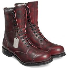 Cheaney Tiger Moth R | Black Cherry Mid Calf Military Boots | Made In England