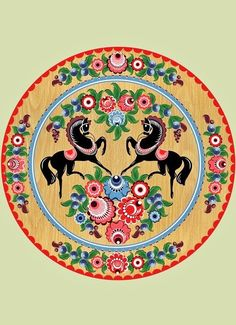 Traditional Gorodets painting from Russia #folk #art
