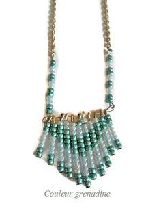 Collier navajo ethnique en perles de rocailles bleues et vertes : Collier par couleur-grenadine33