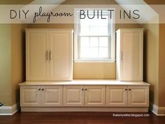 Several different options for built-in storage units. Includes ideas for both the playroom and the dining room.