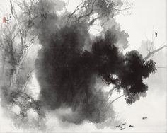TAKEUCHI Seihō(竹内 栖鳳 Japanese, 1864-1942)  Birds at Roost 宿鴨宿鴉 1937  ink on paper / hanging scroll