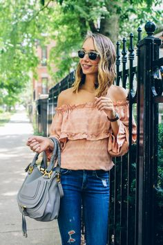 Off the shoulder top + distressed jeans