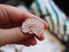 White Sagittal Enamel Pin by TwoPhotonArt on Etsy