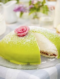 The Princess torte is one of the most popular cakes in Sweden. It's made out of cake layers, whipped cream, vanilla cream and green marzipan with icing sugar on top.