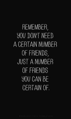 You don't need a certain amount of friends, just a few you can count on!