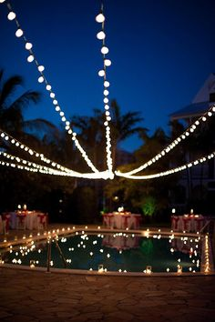 String lights over the pool provide beautiful reflections. For long term use, shop commercial grade string lights at http://www.partylights.com/Commercial-String-Lights