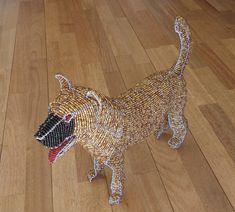 African Beaded Dog Wire Animal Sculpture DOG Large от Hadeda