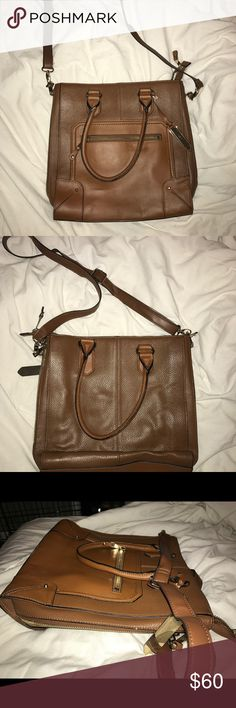 Tan leather bag with gold zippers Tan leather bag with gold zippers on side and gold buckles perfect for fall cross body messenger or side bag Aldo Bags Crossbody Bags