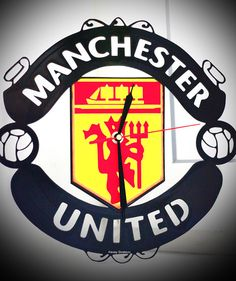 Wall clock Manchester united Gift Present Original Interesting Home Decor Perfect Interior Stylysh C Manchester United Gifts, Team Photos, Vinyl Records, Clock, The Unit, Wall, Etsy, Bedroom, Products