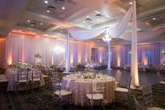 Tall White and Blush Pink Centerpiece Flowers with Pink Specialty Linens and Gold and Silver Chiavari Chairs | Wedding Reception Décor | St. Petersburg Wedding Photographer Castorina Photography