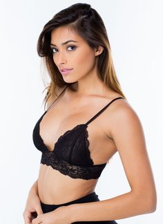 Venus Lace Bralette   Stretchy lace bralette features adjustable spaghetti straps, triangle-shaped cups, and lace trimming throughout. Bralette is finished with adjustable hook and eye closures on the back.   Chapter24