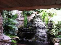 Natural stone pond designs with small waterfall and indoor gardening ideas and wooden terrace canopy with fresh nuance
