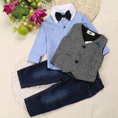 Boys Clothing Sets - Pants, Shirt w/bow tie, Vest   #christmasgift #christmasshopping #Shopearly #christmasfashion #kidsfashion