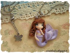 Lilac princess mermaid doll necklace Polymer clay