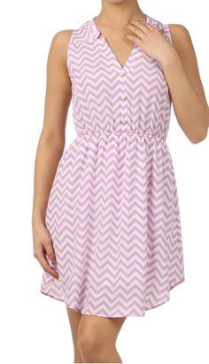 Tiffany S/L Chevron Elastic Waist Dress Lavender | Freckles Boutique