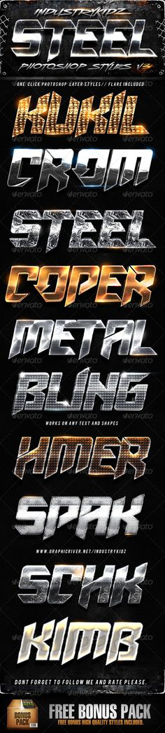 Steel Photoshop Layers Styles V3