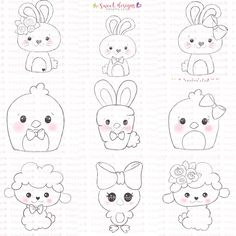 I'm done uploading my easter collection! My favorite on is the unicorn chick and the bunny carrot! Which one is your favorite one? Art Drawings For Kids, Doodle Drawings, Drawing For Kids, Doodle Art, Easy Drawings, Felt Crafts, Easter Crafts, Adult Coloring Pages, Coloring Books