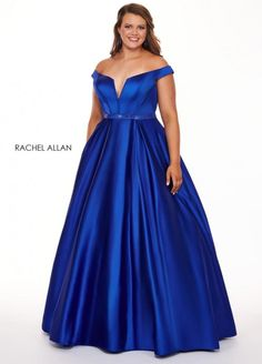 Style 6670 from Rachel Allan Curves is a V neck off the shoulder stretch satin plus size prom gown with embellished waistband.