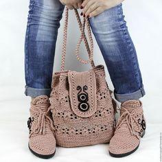 Обувь ручной работы. Ярмарка Мастеров - ручная работа. Купить Ботинки сумка вязаные комплект хлопок. Handmade. Обувь вязаная
