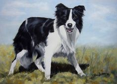Border Collie Play! - original oil dog painting, painting by artist Anne Zoutsos