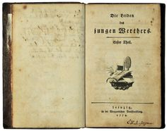 Johann Wolfgang von Goethe, The Sorrows of Young Werther, 1774. Although it was not published after the Romanticism movement, this book was a German influence on the movement. Due to the main protagonist's passionate character and the style of clothing worn in the book, men throughout Europe would try to imitate the character and wear similar clothing.