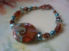 Sun and Surf Stunning Lampwork Bracelet with by FernFronds on Etsy, $44.00