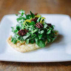 Pork Skin Plank with a watercress and Pea Tendril Salad Candied Pecans by jason_klutts Candied Pecans, Food Pictures, Plank, Risotto, Nom Nom, Food Porn, Brunch, Salad, Dining