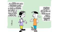 """I Paradossi del Canguro - Postik.it """"Per gli italiani il voto segreto è così segreto che nell'urna, per paura di esser scoperti, non ci portano neanche la coscienza.""""  Vignetta di Mario Airaghi SatiraNeuroDeficiente"""