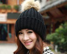 2016 Crochet Faux Rabbit Fur Beanies Winter Womens Caps Fashion Warm Wool Hats Ladies Pompons Skullies Cap Knitted Hat For Women