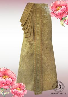 Easy to wear mermaid style sarong (Thai style skirt) with traditional 7 layers front tucked piece. Mom Fashion, Skirt Fashion, Thai Wedding Dress, Thailand Fashion, Thai Pattern, Thai Dress, 7 Layers, Mermaid Style, Traditional Wedding Dresses