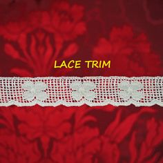 7 YARDS, WHITE Lace Insertion Sewing Trim, Machine Crochet, Lightly Scalloped Edge, Flowers, 1 Inch Wide, L316 by DartingDogCrafts on Etsy
