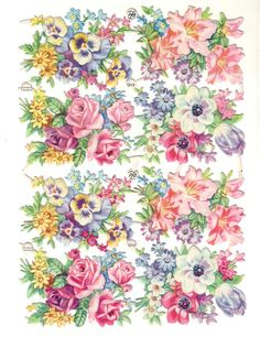 Vintage Floral Die-cut Scrap Roses and Pansies Mixed Flowers Vintage Floral, Vintage Flowers, Arts And Crafts, Paper Crafts, Snoopy Christmas, 3d Prints, Paper Tags, Flower Images, Vintage Ephemera