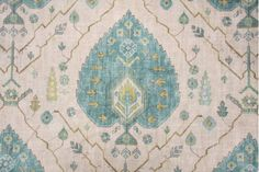 Richloom Platinum Collection Aubusson Printed Linen Drapery Fabric in Aegean