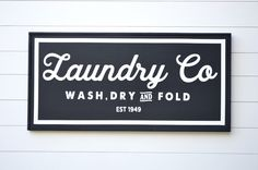 VINTAGE LAUNDRY CO, Painted wood sign - S,M,L Sizes available  | Wall decor (Rustic Chic, Modern Farmhouse, Fixer Upper) Free Shipping by huntandgathergoods on Etsy https://www.etsy.com/listing/471803455/vintage-laundry-co-painted-wood-sign-sml