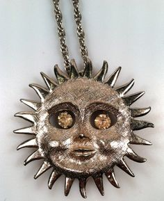 1970s Vintage SUN Pendant Necklace/Brooch by thepopularjewelry
