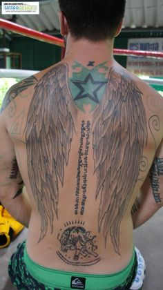 Eagle Wings Tattoos On Man Back Body
