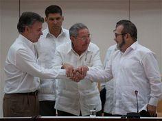 Con un pomposo acto, Colombia sellará este lunes en su joya colonial de la ciudad de Cartagena, sobre el Caribe, un histórico acuerdo de paz con la guerrilla FARC para poner fin a una conflagración de más de medio siglo.  El presidente Juan Manuel Santos y el máximo líder de las Fuerzas Armadas Revolucionarias de Colombia (FARC) Rodrigo Londoño, más conocido por sus nombres de guerra Timoleón Jiménez y Timochenko, firmarán el pacto alcanzado el 24 de agosto tras casi cuatro años de…