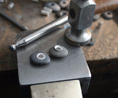 Silver riveted beach stones by SToNZ #jewelry #process