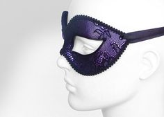 Metallic Purple And Black Lace Masquerade Mask by SOFFITTA